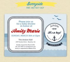 Ahoy It's a Boy - Printable -  Nautical Sailor Theme - Vintage Style