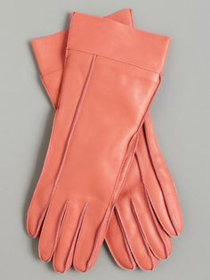 Peachy leather gloves.