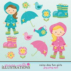 Rainy Day Fun Cute Digital Clipart for Card by JWIllustrations, $5.00