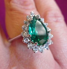 Vintage EMERALD diamond cocktail RING size by WhatCheerProvidence, $50.00