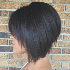 The Full Stack: 50 Hottest Stacked Haircuts brunette angled stacked bob for straight hair Graduated Bob Haircuts, Inverted Bob Haircuts, Stacked Bob Hairstyles, Straight Hairstyles, Pixie Haircuts, Stylish Haircuts, Medium Hairstyles, Braided Hairstyles, Wedding Hairstyles