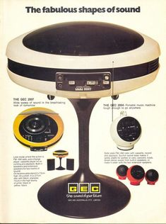 From stereo 'eggs' to spaceship jukeboxes, we've collected some of the most visually striking stereo designs from the Space Age. Vintage Records, Vintage Music, Vintage Ads, Vintage Advertisements, Retro Futuristic, Futuristic Design, Flower Power, To Do App, Radio Antigua