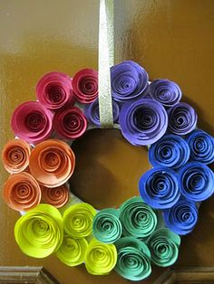 Bee's And San's: DIY Rainbow Coloured, Paper Rose Wreath
