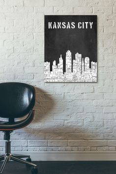 Kansas City Skyline, Black and White Art,Black and White skyline, Kansas City map,Chalkboard art,Modern Home Decor,No589 by 8RedFishCreative on Etsy https://www.etsy.com/listing/255170685/kansas-city-skyline-black-and-white