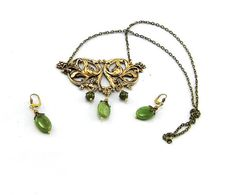 Scroll Art Nouveau Necklace and Earring Set - Antique Brass Pendant Necklace with Green Garnet Earrings,baroque, medieval style