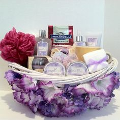 (Spa Gift Basket) Gift of luxury and relaxation with this lavender gift basket. Spoil yourself or give this gift basket as the perfect gift for Mother's Day.  Bubble Bath,  Body Spray,  Body Lotion,  Body Cream,  Body Scrub,  Bath Salt,  Cloth,  (2) Body Sponge,  Candle   Cup,  Soap Rose Petals,  Ghirardelli Chocolate Squares Dark 60% Cacao Rich Velvety Chocolate.