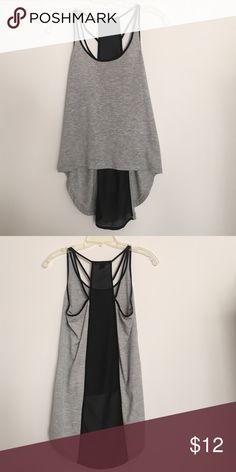 High Low grey tank Very cute and simple high low tank with black sheer and strappy back. Perfect for summer, only worn twice, in excellent condition! Forever 21 Tops Tank Tops