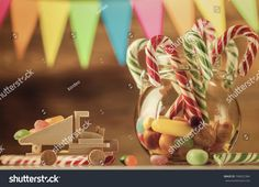 The whole body of sweet candy. Sweets for Christmas. Greeting card. Candy canes. Marmalade. Retro toning.