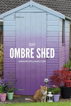 Purple to Sky blue Ombre shed DIY by Nikki McWilliams. Cuprinol Garden shades paint has excellent blending qualities and is perfect for creating this Ombre dream shed!