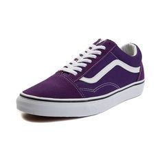Add a timeless staple to your sweet style with the Old Skool Skate Shoe from Vans! The Old Skool Skate Shoe rocks a sturdy canvas upper with signature leather s Purple Vans, Purple Shoes, Ankle Sneakers, Vans Sneakers, Converse, Mens Vans Shoes, Skate Shoes, How To Clean Vans, Vans Store