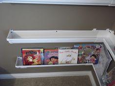 PVC rain gutters used as shelves Rain Gutter Shelves, Gutter Bookshelf, Corner Bookshelves, Book Shelves, Bookshelf Ideas, Corner Shelf, Display Shelves, Bookcases, Girls Bedroom