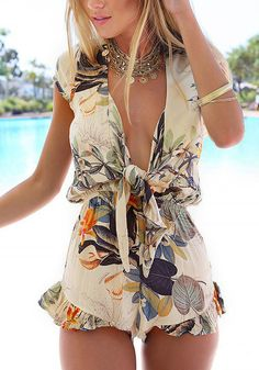 Pastoral print plunge romper features plunging neckline with adjustable ties in the front for casual, flirty look. | Lookbook Store Jumpsuits and Rompers Collection