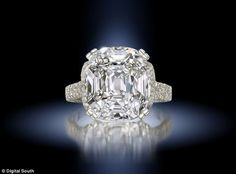 Cushion-shaped 14.07 carat single-stone diamond. Estimated worth £330,000-£460,000 from the collection of Barbara Taylor Bradford