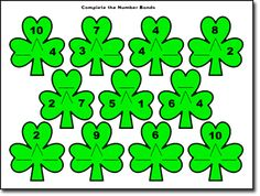 St Patrick's Day Math - Number Bonds (Free Printable)