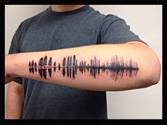 Black Pine tree silhouettes turning into soundwave tattoo nature proclaims Gods presence arm band