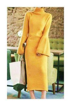 Yellow dress Women casual dress long sleeve dress elegant dress trendy knit dress from merino wool Knit Fashion, Look Fashion, Trendy Fashion, Autumn Fashion, Fashion Trends, Korean Fashion, Fashion Women, Elegant Dresses, Casual Dresses For Women