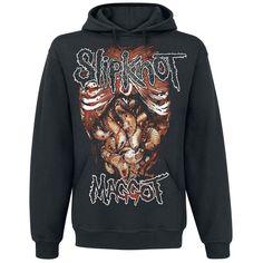 """Senza i """"maggots"""", quindi senza di voi, gli #Slipknot non sarebbero la band che sono ora. In tutti i tour, in tutti le centinaia di concerti, milioni di fan aspettano impazienti l'esibizione della band Nu Metal dell'Iowa. Sulla felpa da jogging nera è stampato il disegno di un torace aperto con vermi all'interno, insieme  alla scritta """"SlipKnot - Maggot"""". Sul retro della felpa è stampata la scritta """"We'Re All Maggots In The End""""."""