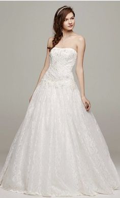 8d9eafec764 David s Bridal WG3561 wedding dress currently for sale at 75% off retail.  Pretty Wedding