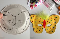 Masques papillon Theme Carnaval, Rainbow Paper, Easter Crafts For Kids, Diy Mask, Preschool Activities, Mardi Gras, Masquerade, Animation, Paper Crafts