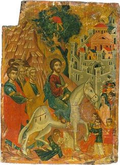 """XC__ """" η Είσοδος στα Ιεροσολυμα """" ( The Entry into Jerusalem - Angelos Anagnostou - 1704 Religious Icons, Religious Art, Images Of Christ, Christian Artwork, Religious Paintings, Byzantine Icons, Art Uk, Orthodox Icons, Victoria And Albert Museum"""