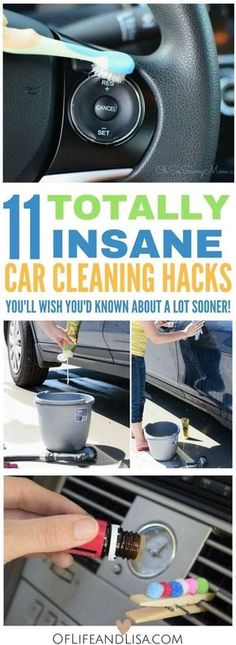 Clean your car like a pro and save a ton of money. Check out this post to see 11 amazing diy car cleaning hacks and tips. | Diy Car Cleaning, Cleaning Recipes, Homemade Cleaning Products, Car Hacks, Jeep Hacks, Car Kits, Diy Wood, Diy Interior Car Cleaner, Cleaning Interior Of Car