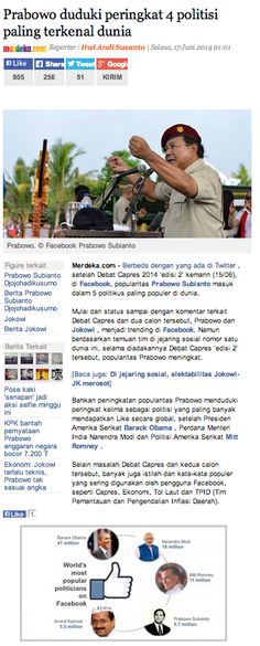 Prabowo becomes 4th most liked politician on FB
