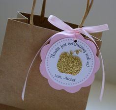 Gold Pumpkin Favor Tags Gold and Pink by PixieDustPartyPaper