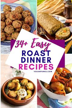Ultimate vegan roast dinner recipes for families to gather and enjoy on Sundays! Vegan Roast dinners are the ultimate comfort food, and we think there's something in this list for everyone. Vegan Entree Recipes, Roast Recipes, Dinner Recipes, Holiday Recipes, Sage And Onion Stuffing, Vegan Yorkshire Pudding, Vegan Roast Dinner, Roasted Carrots And Parsnips