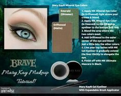 "Get ""Brave"" with Mary Kay mineral eye colors in emerald & driftwood. Add some gel eyeliner in black & top it off with a best seller, Mary Kay ultimate mascara also in black. Mary Kay Party, Mary Kay Eyeshadow, Mary Kay Makeup, Mary Kay Cosmetics, Make Up Looks, Perfectly Posh, Maquillage Mary Kay, Disney Inspired Makeup, Selling Mary Kay"