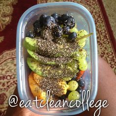 a quick and delicious midday snack! all you need is blueberries, avocado, green grapes, peaches, and chia seeds!