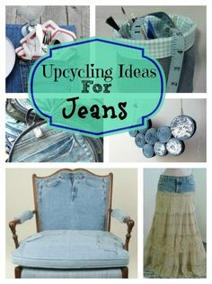 These upcycling ideas for jeans are so amazing, we wanted to pin everyone of them individually. Our favorites are the chair and the rug. What a comfy country home this pair would make :) #repurpose #reuse #upcycle