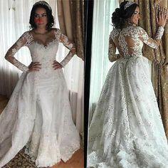 Detachable Wedding Dress, Plus Size Wedding Dresses With Sleeves, Vintage Style Wedding Dresses, Plus Size Wedding Gowns, Wedding Dress With Veil, Beautiful Wedding Gowns, Sweetheart Wedding Dress, Long Wedding Dresses, Wedding Veil