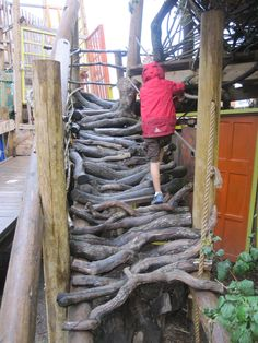 A look at different climbing structures for children to explore outside. I love the ramp made of branches - so many ideas.