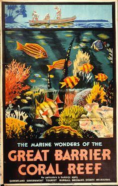 reef, great barrier coral reef , Australia - Vintage travel poster #essenzadiriviera.com