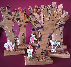 Recycled cardboard tree hands would be a great activity for an Earth Day craft for kids. Love this idea!