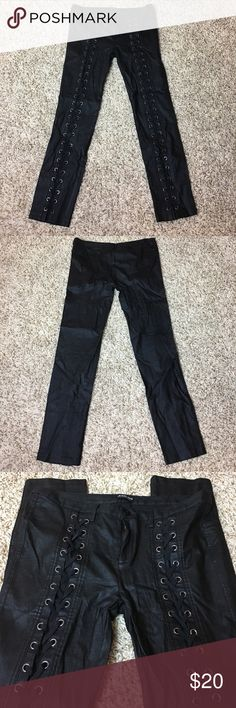 Fashion Nova Lace Up Super Stretchy Leggings Fashion Nova Lace Up Super Stretchy Leggings - Never worn. Fun for a night out or a Vegas trip. They are black with a slight shimmer to them. You'll love them! - Make me an offer! I ❤️ OFFERS! Fashion Nova Pants Leggings