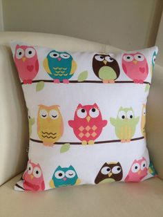 Pillow Cover Owls baby owl 18x18 Pillow Sham pink by didgedesigns, $25.00