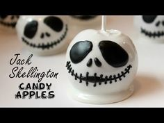 Jack Skellington Candy Apples - perfect Halloween treats for parties! - Happy Cakes by Renee