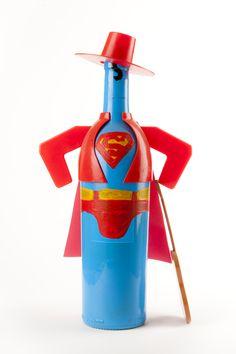 Bottle of Tio Pepe dressed Superman
