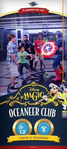 Step into worlds inhabited by some of your favorite characters at this kids' activity center filled with surprises. Four delightfully themed destinations await little Oceaneers, including the landmark MARVEL's Avengers Academy! Click to learn more about Disney Cruise Line's Youth spaces.