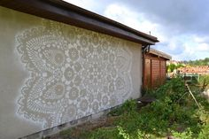 """Lace Street Art """"Artist NeSpoon has a very unique style, she uses ornate lace patterns installed in public spaces, whether it is actual webbing or stencilled pieces, she has definitely made her. Murals Street Art, Graffiti Art, Urban Jewelry, Modern Metropolis, Weaving Art, Lace Patterns, Outdoor Art, Outdoor Spaces, Public Art"""
