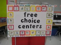 I like this poster for center choice. The students put a clothespin with their name on it on one of the dots, when all of the dots for a center are full they need to make another choice. Saves space and is neat and tidy, Love it!