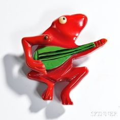 Rare Bakelite Articulated Frog Pin                                                                                                                                                     More