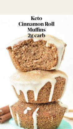 Cinnamon Roll Muffins, Keto Cinnamon Rolls, Diabetic Recipes, Gluten Free Recipes, Low Carb Recipes, Low Carb Bread, Low Carb Keto, Low Carb Deserts, Comida Keto