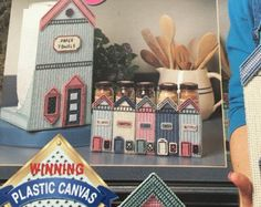 Kitchen Canisters-Vintage Plastic Canvas Pattern Book