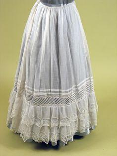 White Cotton & Lace Petticoat, 1834