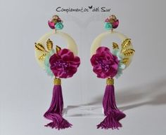 Pendientes de Flamenca Diy Jewelry, Jewelry Sets, Women Jewelry, Statement Earrings, Drop Earrings, Thread Jewellery, Diy Accessories, Tassels, Fancy