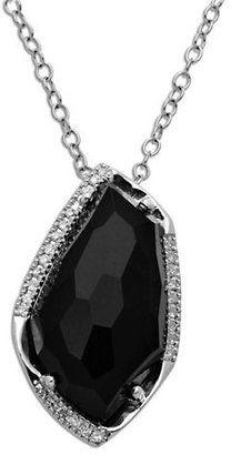 Lord & Taylor Sterling Silver Black Onyx Diamond Pendant Necklace