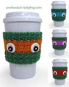 FREE Crochet Ninja Turtle Coffee Cup Cozy Pattern by The Enchanted Ladybug Crochet Coffee Cozy, Coffee Cup Cozy, Crochet Cozy, Crochet Gratis, Free Crochet, Coffee Cups, Hot Coffee, Starbucks Coffee, Coffee Break
