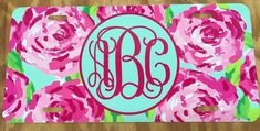 Lilly pulitzer roses Monogram License Plate by AMillionMonograms